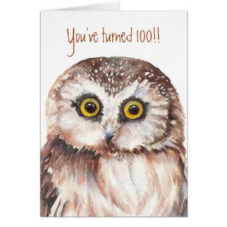 Custom Shocked Funny-Little Owl, 100th Birthday Card
