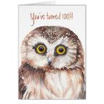 Custom Shocked Funny-Little Owl, 100th Birthday Greeting Card