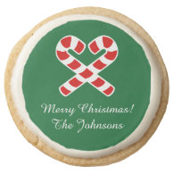 Custom shortbread cookies with Christmas candycane Round Premium Shortbread Cookie