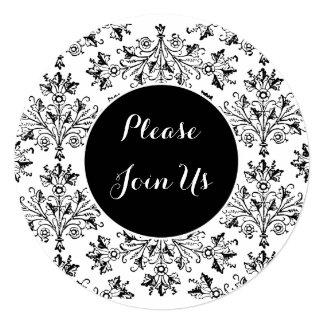 Custom Shower Black White Floral Damask Invitation