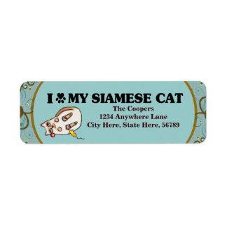 Custom Siamese Cat Art Return Address Labels