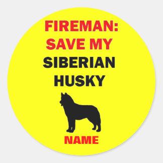 Custom Siberian Husky Fire Safety Round Sticker