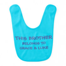 Custom sibling names on baby Brother's Baby Bib