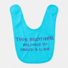 Custom sibling names on baby Brother's Baby Bib