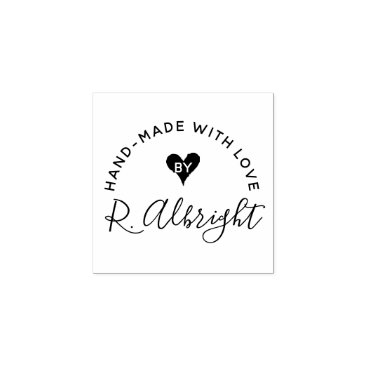 "Custom Signature ""Hand-Made With Love By"" Rubber Stamp"