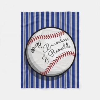 Custom Signature Style Baseball Navy | Grey Stripe Fleece Blanket