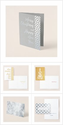 Custom Silver and Gold Foil Holiday Cards