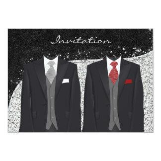 Custom Silver and Gray Gay Wedding Invitation
