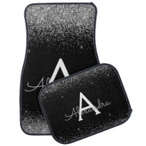 Custom Silver Black Glitter Sparkle Monogram Car Floor Mat