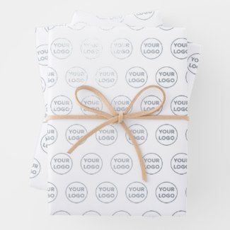Custom Silver Business Logo Pattern on White Foil Wrapping Paper Sheets