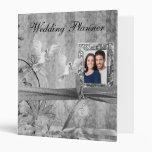 Custom Silver Floral Photo Wedding Planner Vinyl Binder