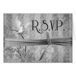 Custom Silver Floral R.S.V.P. Wedding Card