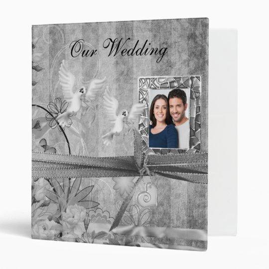 Custom Silver Floral Wedding Photo Album 3 Ring Binder