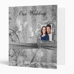 Custom Silver Floral Wedding Photo Album 3 Ring Binders