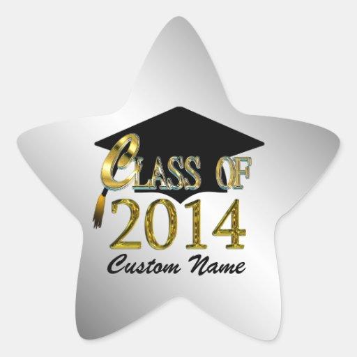 Custom Silver & Gold Star Class Of 2014 Sticker