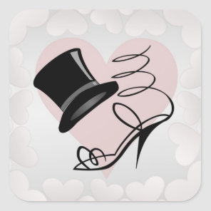 Custom Silver Hearts Black Top Hat and High Heels Square Sticker