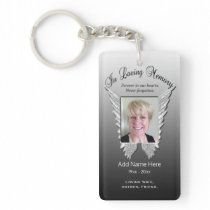 Custom Silver Memorial Angel Wings Add Photo Keychain