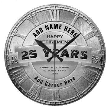 Custom Silver Retirement Award Large Clock