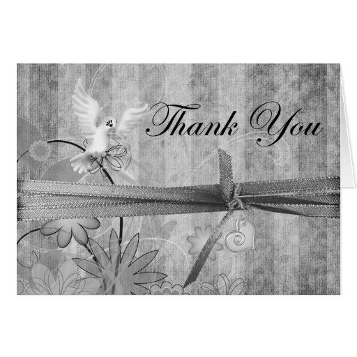 Custom Silver Vintage Wedding Thank You Card