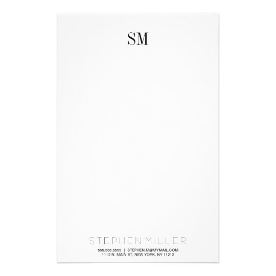 custom simple monogram initials name stationary stationery