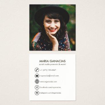 Professional Business Custom Simple Photo Social Media Business Card