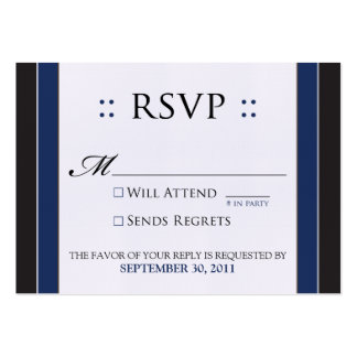 "::custom:: Simply Elegant 3.5x2.5"" Black/Navy RSVP Large Business Cards (Pack Of 100)"