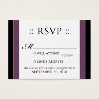"::custom:: Simply Elegant 3.5x2.5"" Eggplant RSVP Business Card"