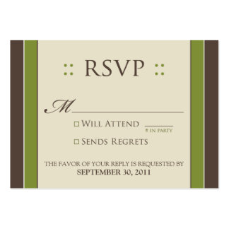 "::custom:: Simply Elegant 3.5x2.5"" Moss RSVP Large Business Cards (Pack Of 100)"