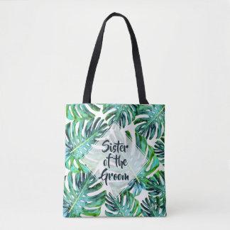 Custom Sister of Groom Tropical Leaf Greenery Tote Bag
