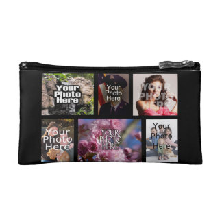 Custom Six Photo Collage Cosmetic Bags