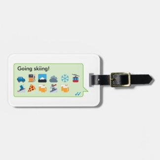 Custom skiing holiday emoticons phone message… bag tag