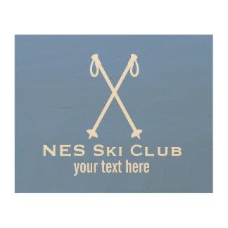 Custom Skiing Nordic Alpine Ski Pole Ski Team Wood Wall Art