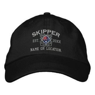 Custom Skipper Australian Flag Crossed Anchors Embroidered Hats