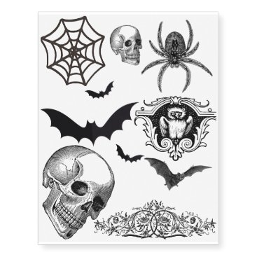 HazyHounds Custom Skull and Spider Temporary Tattoo's Temporary Tattoos
