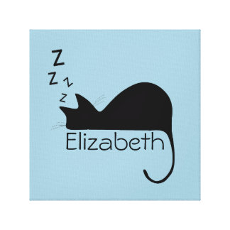 Custom Sleeping Cat Silhouette Canvas Print