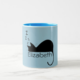 Custom Sleeping Cat Silhouette Two-Tone Coffee Mug