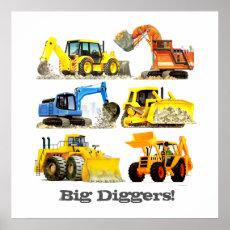 Custom Slogan Big Diggers Construction Trucks Poster