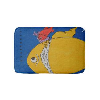 Custom small bath mat with fish