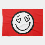 Custom Smiley Face on Red Background Hand Towels