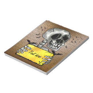 Custom Smiling funny skull with text sign Notepad