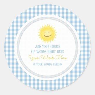 Custom Smiling Sun Gingham Stickers