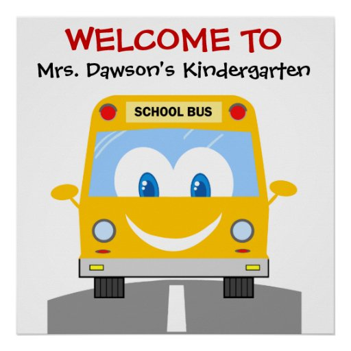 Custom Smiling Yellow Bus School Welcome Poster