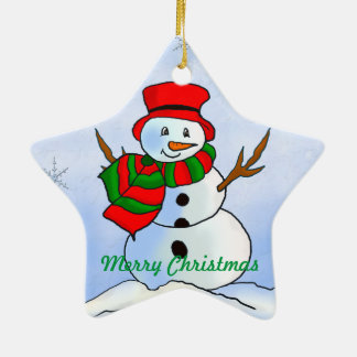 Custom snow man on blue background and snowflakes ceramic ornament