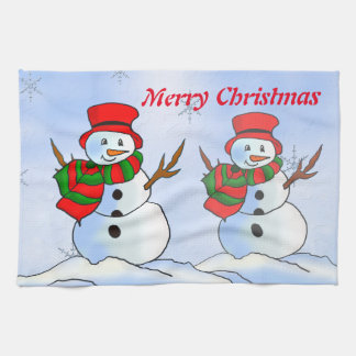Custom snow man on blue background and snowflakes towel
