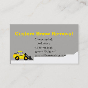 Custom Snow Removal Bulldozer Business Card