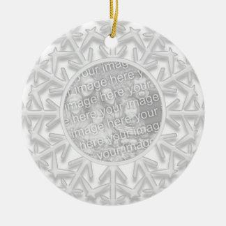 Custom Snowflake Winter Wedding Photo Ornament