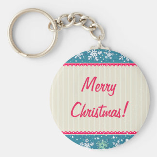 Custom Snowflakes and Presents Basic Round Button Keychain
