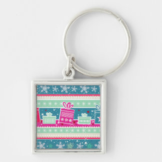 Custom Snowflakes and Presents Silver-Colored Square Keychain