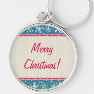 Custom Snowflakes and Presents Silver-Colored Round Keychain