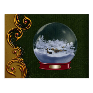 Custom Snowglobe Christmas Postcard